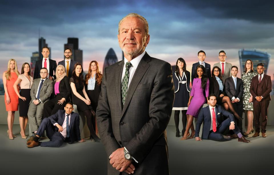 The contestants for the BBC's 13th series of The Apprentice with Lord Alan Sugar